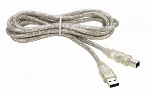 Kabel USB 2.0 A/B 5m. Transparent Ekran HQ THOMSON